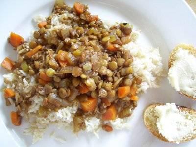 lentils & white rice