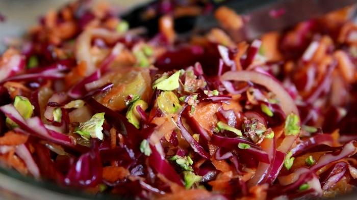 Crisp Winter Salad with Red Cabbage, Carrots, Orange & Pistachios