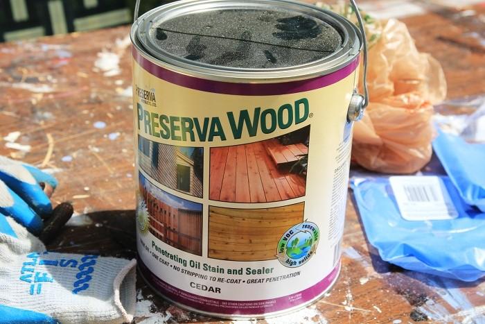 staining cedar fence