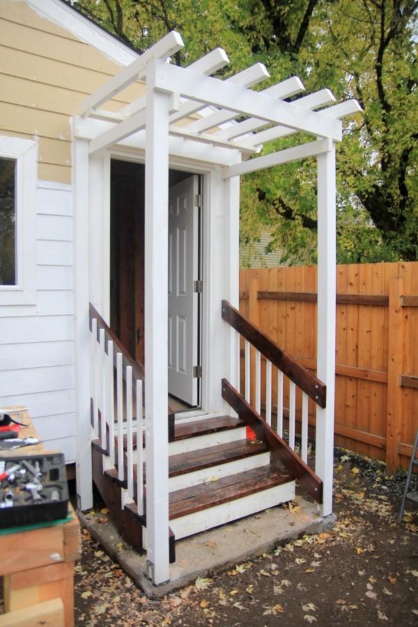 exterior stairs with pergola