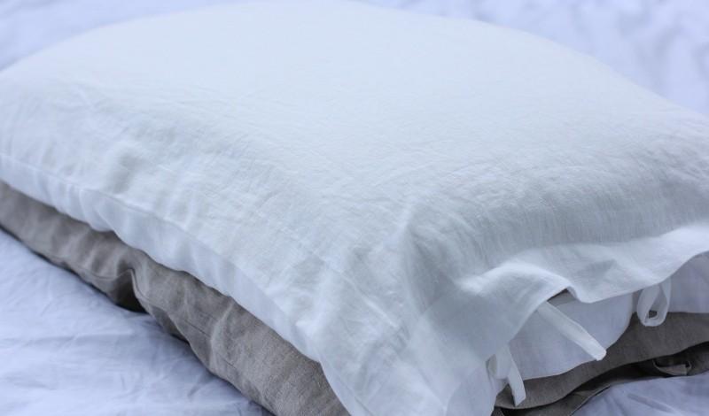 linen bed pillow