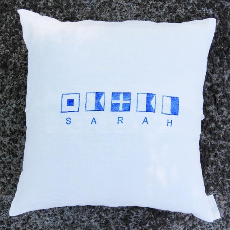 monogrammed linen pillowcase