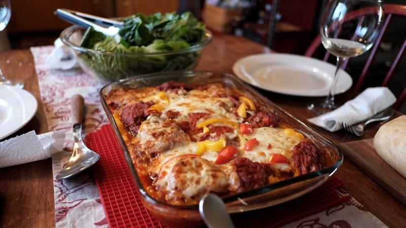 eggplant & sausage parmigiano