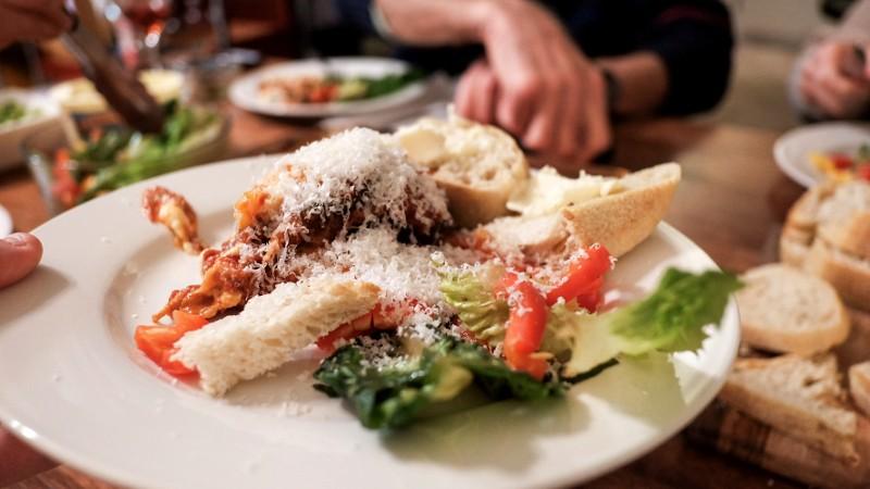 eggplant, bread & salad