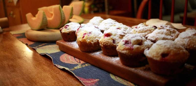 cranberry muffins & melon