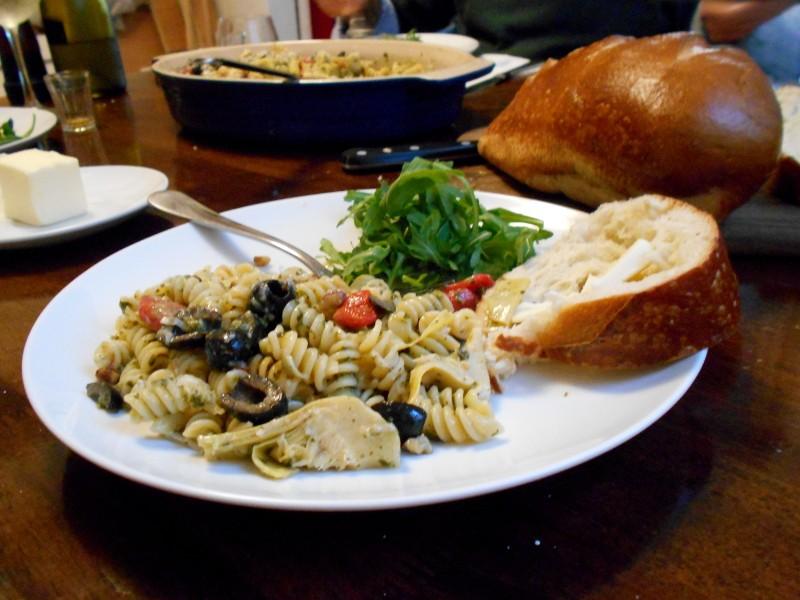 pasta dish, bread & argula