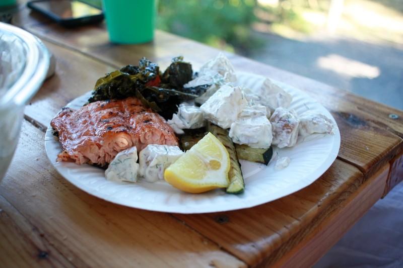 salmon, zucchini, kale, potato salad