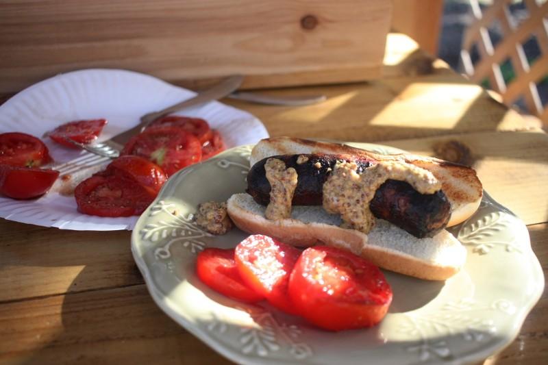 bratwurst & tomatoes