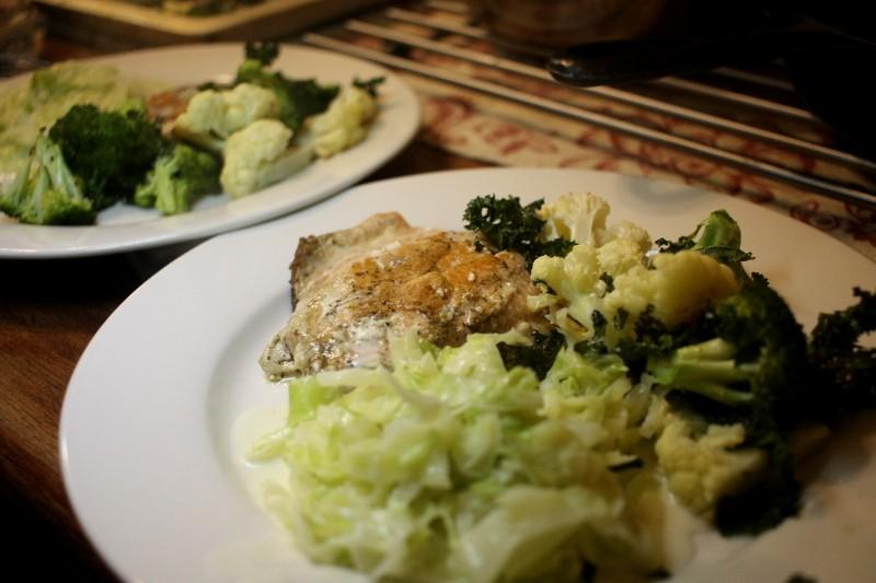 salmon, broccoli, cabbage