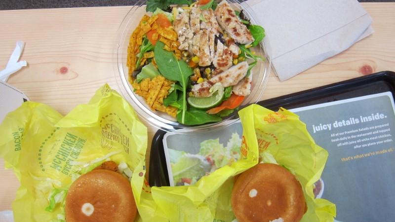 McDonald's salad & chicken sandwich