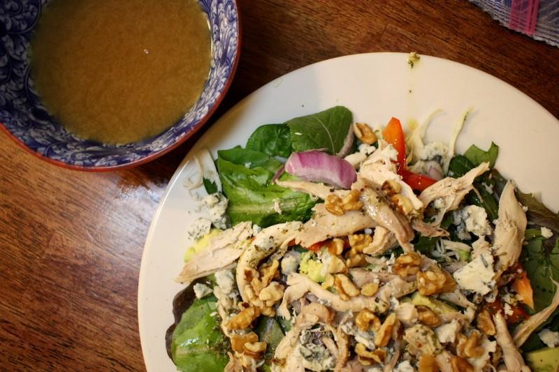 broth & chicken salad