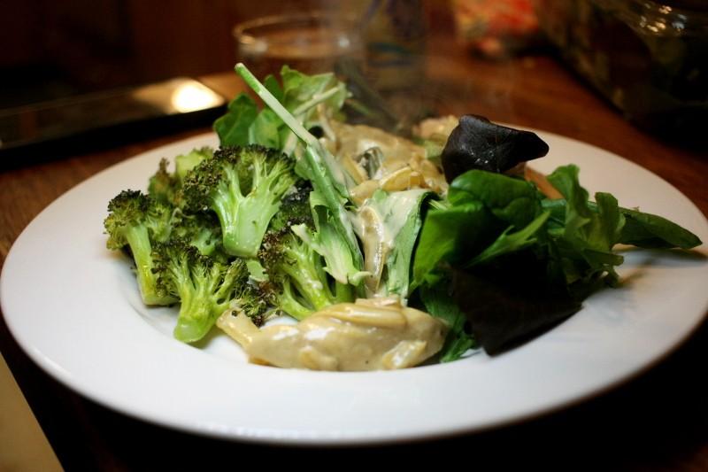 chicken, salad, broccoli