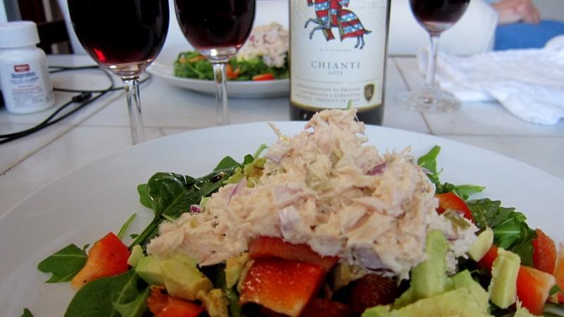 tuna salad on greens & wine