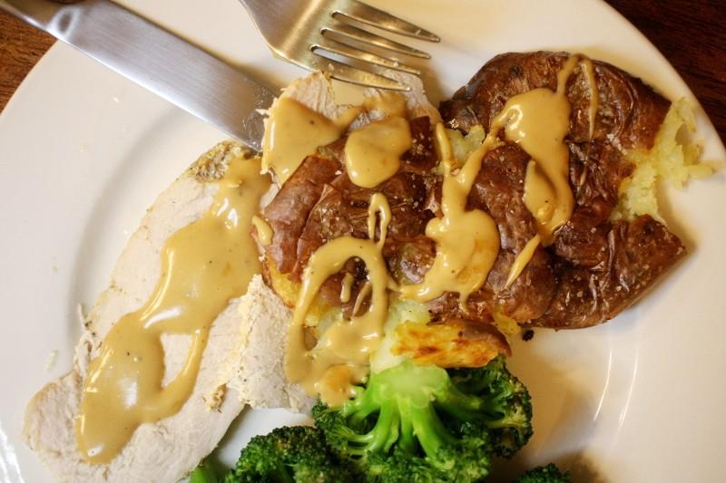 turkey, broccoli, potatoes