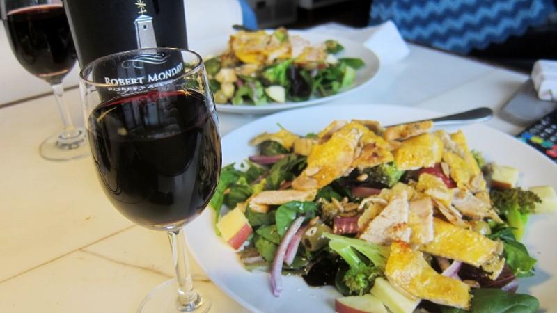 wine, turkey on greens