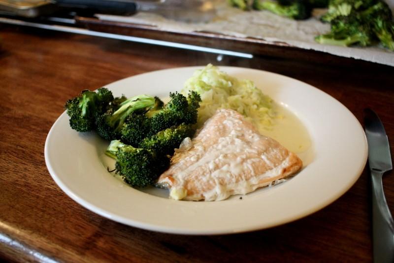 salmon, broccoli & cabbage