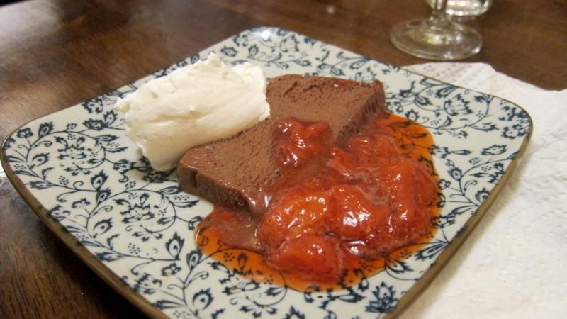 mousse, cream & strawberries