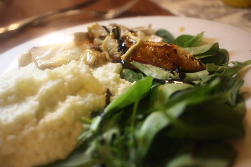 chicken, brie, cabbage & salad