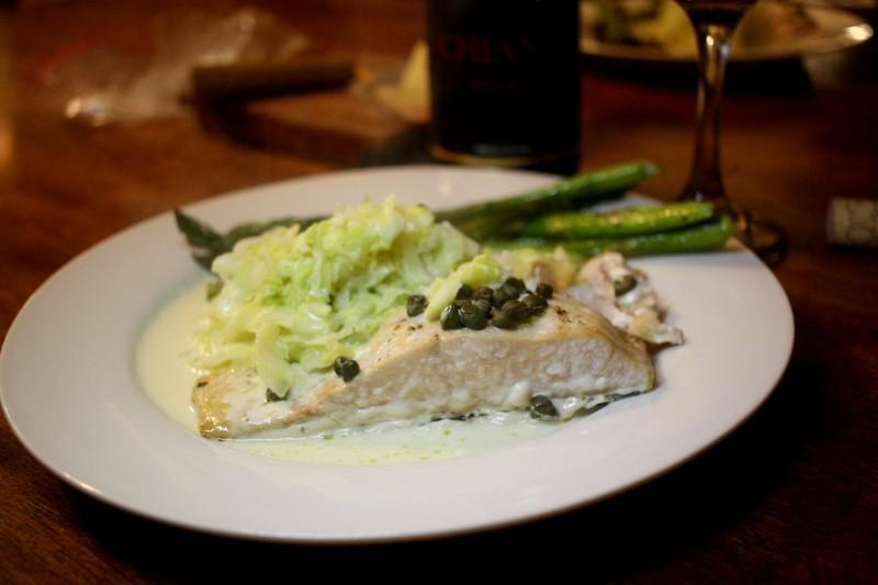 salmon, asparagus, cauliflower