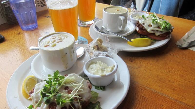 clam chowder & salmon pattie
