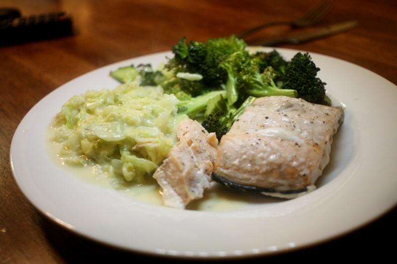 salmon, cabbage & broccoli