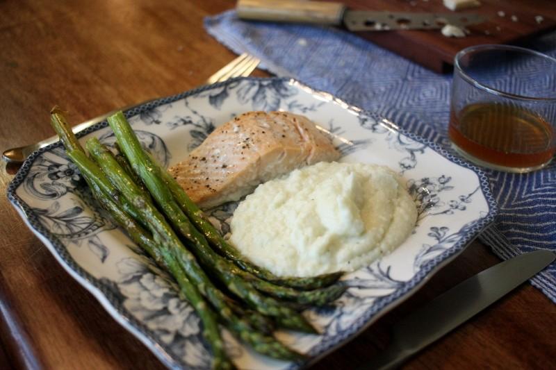salmon, cabbage, asparagus