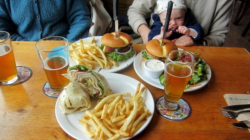 IPA, burgers, fries, salad