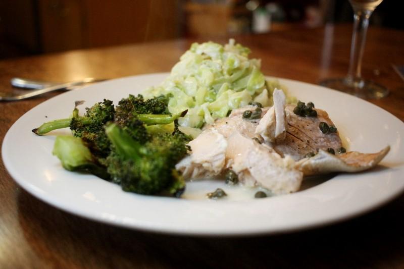salmon, cabbage, broccoli