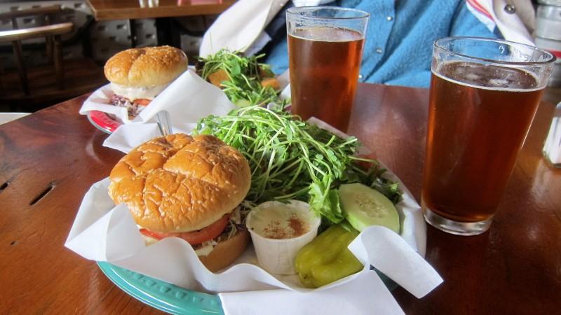 IPA & salmon burgers