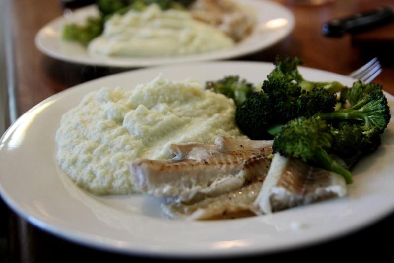 fish, cauliflower & broccoli