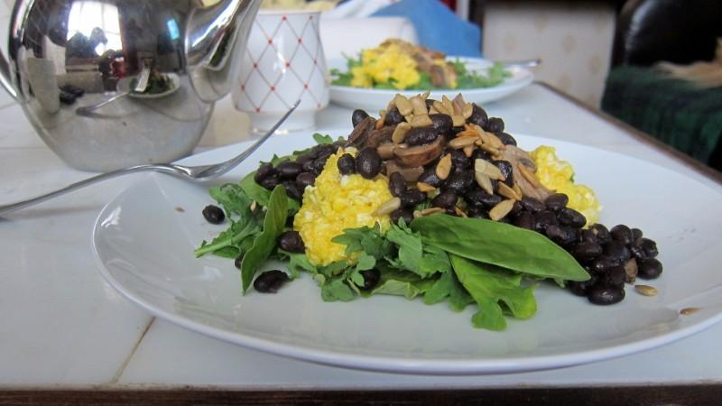 eggs, greens, tea