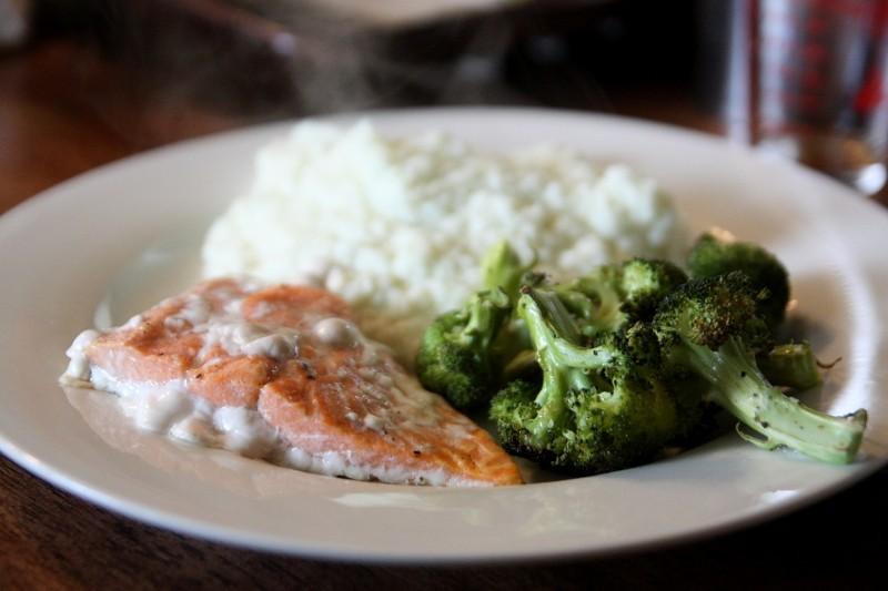 salmon, cauliflower & broccoli