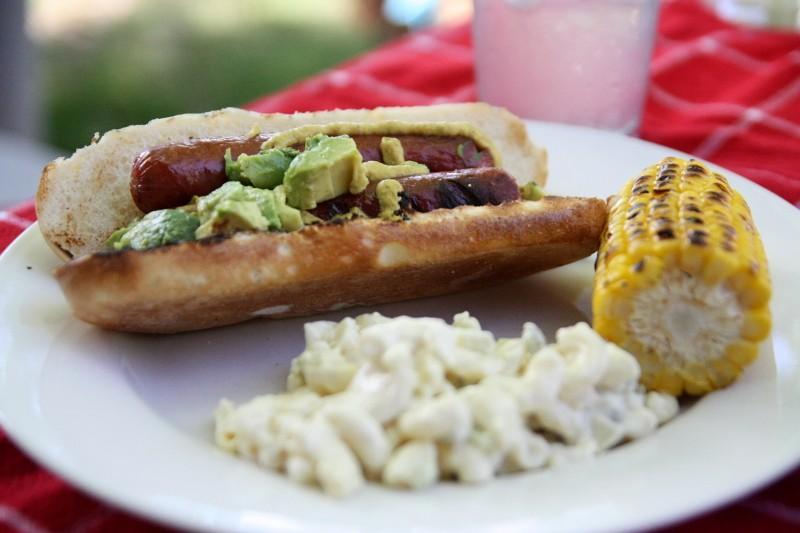 hot dog, salad & corn