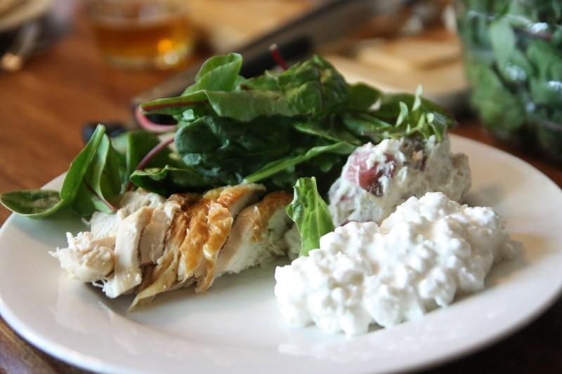 chicken, salad & potato salad