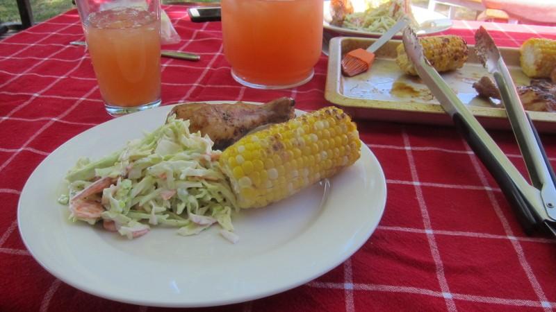 grilled chicken, corn & coleslaw