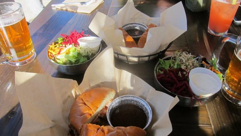 beer, salads & sandwich