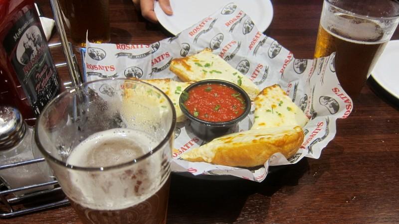 garlic bread & beer