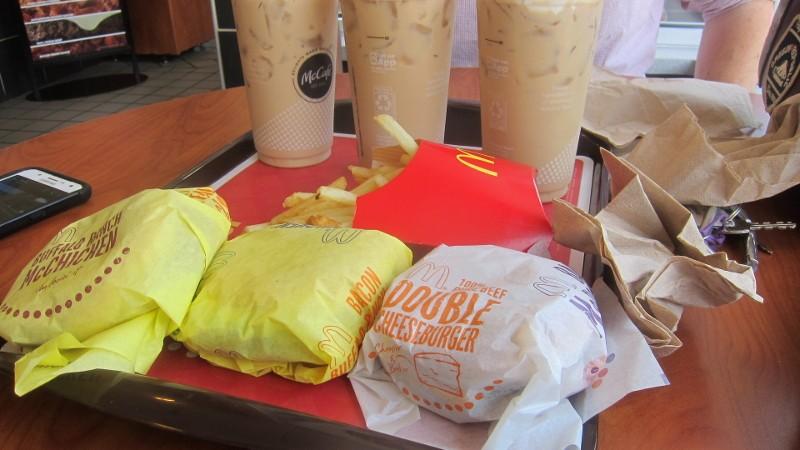 chicken sandwiches & coffee drinks