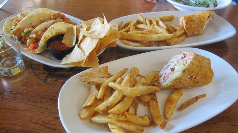 tacos, fries, sandwich