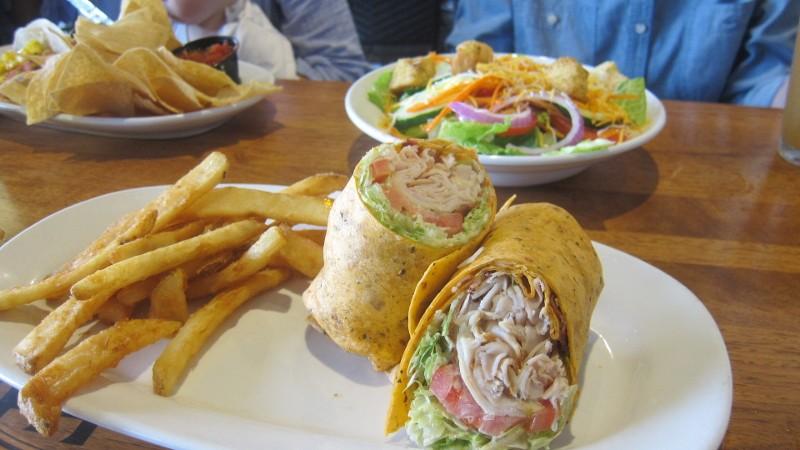 salad, fries, turkey wrap