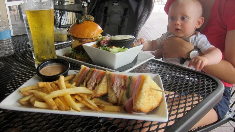 beer, club sandwich, burger