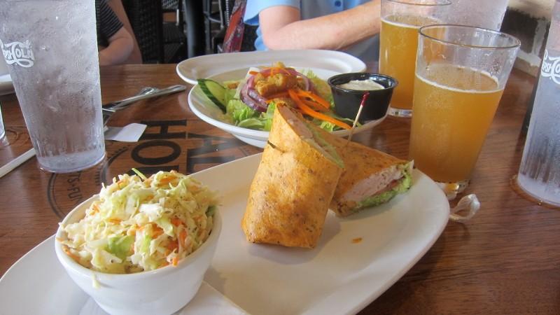 turkey wrap, salad & beer