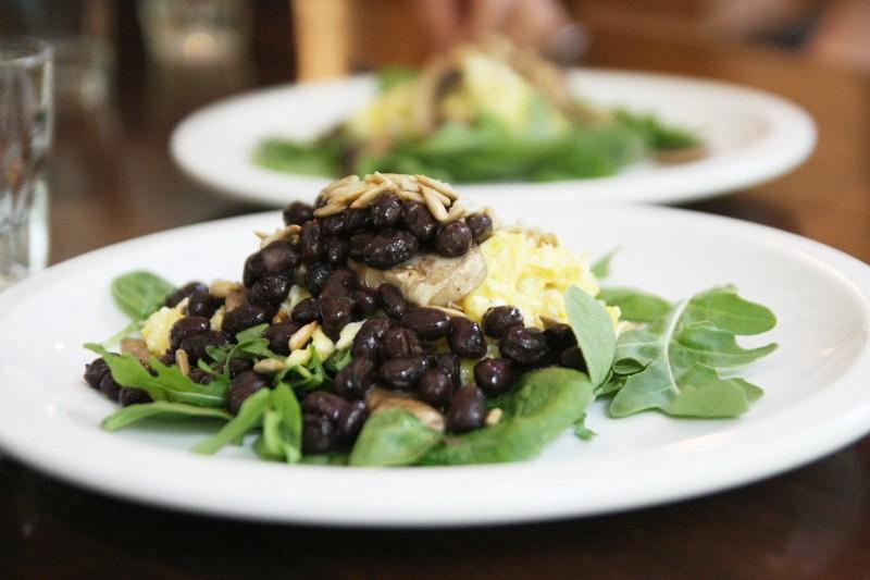 eggs & beans on greens