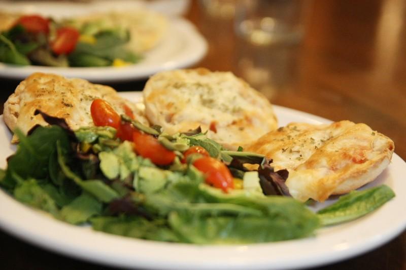 salad & english muffin pizza