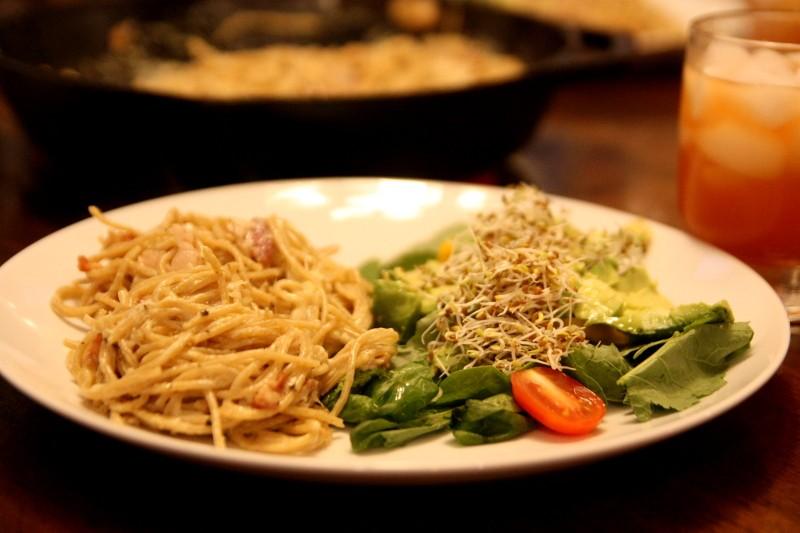 salad & spaghetti carbonara