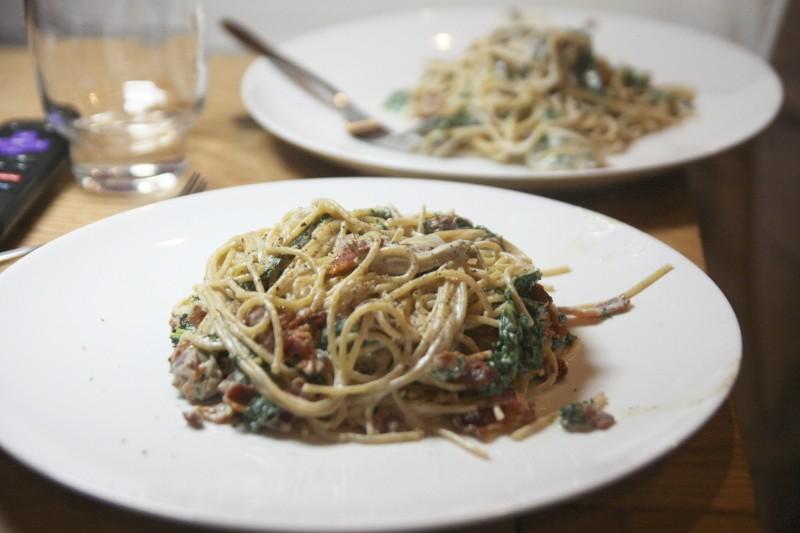 spaghetti, kale & bacon