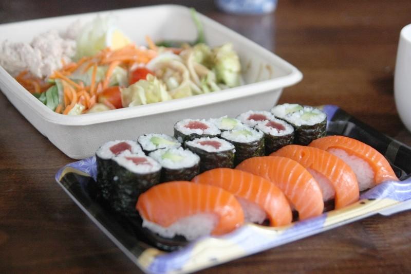 sushi & tuna salad