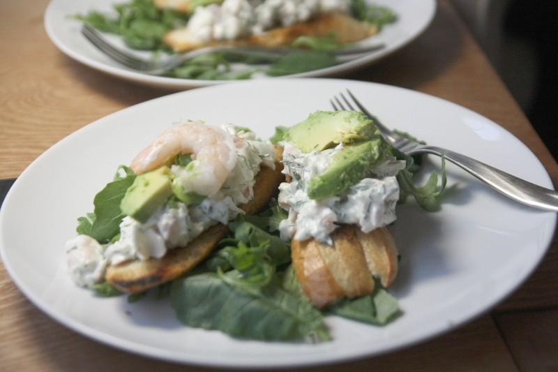 shrimp on toast & greens