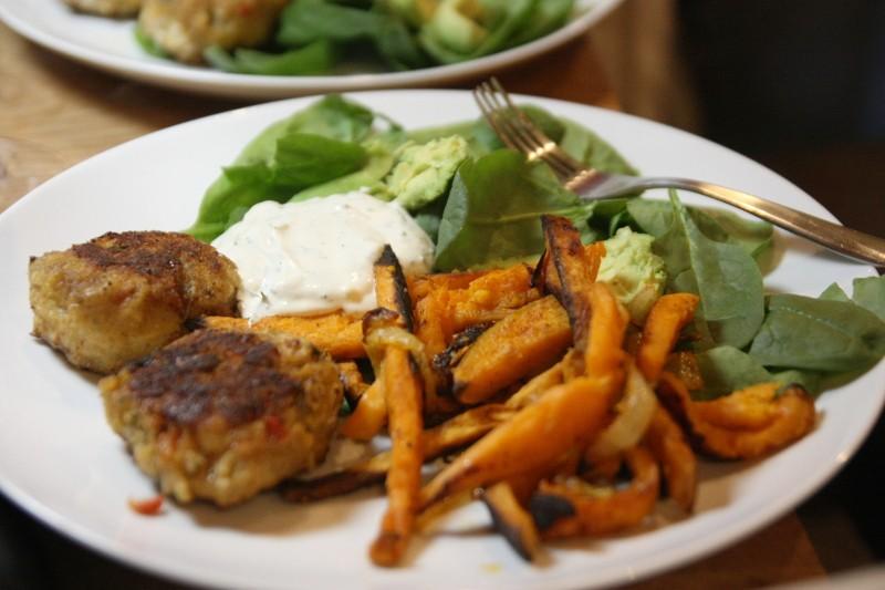 fish cake, sweet potatoes & greens