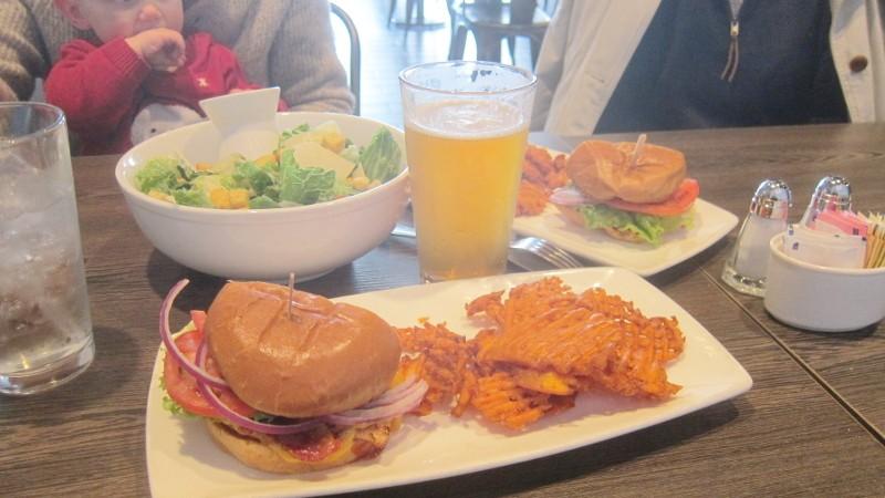 salad, ipa & sandwich
